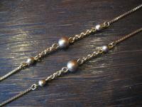 lange Charleston Kette gold 835er Silber vergoldet runde Kugeln super schön