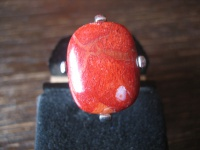 toller modern gefasster Ring 925er Silber Bambuskoralle Bambus Coral 18 mm RG 57