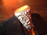 wuchtiger Art Deco Herrenring Siegelring Ring 835er Silber Carneol RG 56 17, 5 mm