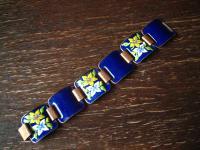 traumhaftes Vintage Designer Emaille Armband strahlend blau Blüten 2, 8 cm breit