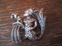 Art Deco Markasit Brosche Sternzeichen Wassermann Horoskop 925er Silber exklusiv