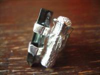 Statement Designer Drache Drachen Ring 925er Silber Vulkanglas 18, 25 mm verstell