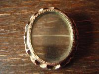 seltene dekorative Biedermeier Medallion Brosche 2 Seiten Glas 800er Silber gold