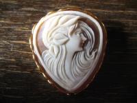 exquisite Muschelgemme Cameo Kamee Brosche Anhänger 925er Silber vergoldet
