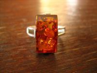 dekorativer Bernstein Ring 925er Silber klassischer Art Deco Stil 19 mm RG 60