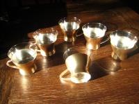 6 Teegläser WMF Bienenkorbwabe versilberte Teeglashalter Glas mundgeblasen 50er