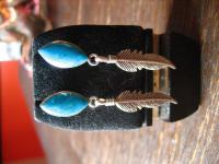 Ohrringe Hänger Feder Türkis 925 Silber Indianer Native Navajo Indianerschmuck