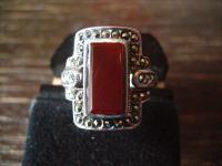 prächtiger Markasit Ring mit Carneol im Art Deco Stil 925er Silber 19, 5 mm RG 62