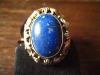 prächtiger Art Deco Ring Lapislazuli Goldschmiede Handarbeit 830er Silber RG 57