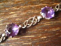 elegantes Art Deco Amethyst Armband 830er Silber flieder lila violett 19, 5 cm