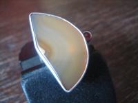 witziger Statement Ring Halbmond Achat 925er Silber rasantes Design 17 mm RG 54