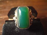 klassischer feiner Art Deco Ring Damenring grüner Achat 835er Silber 18 mm RG 57