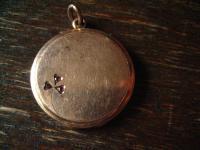 klassischer Jugendstil rotgold Medallion Anhänger Glücksbringer Kleeblatt Glück