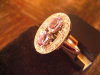 Feiner Ring im Art Deco Stil 925er Silber Zirkonia Stein Flieder 19 mm RG 60 NEU