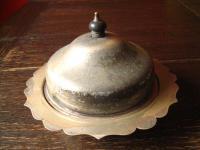 nostalgische Servierschale mit Haube silber pl Shabby Chic Muffin Dish 3teilig
