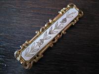 ausgefallene Biedermeier Schmuckschließe Gürtelschließe Schließe gold Perlmutt