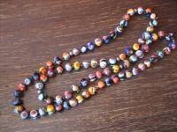 prächtige lange Millefiori Kette Muranoglas Perlen Murano Italien Vintage 80 cm