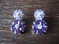 Kronjuwelen gesucht ? opulente Ohrringe Hänger 925er Silber Zirkonia Amethyst