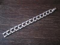 edles breites Art Deco Armband elegante Kassetten Form 835er Silber 19 cm lang