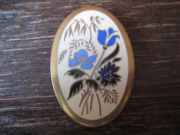 reizvolle vintage Designer Brosche Wiesenblumen Emaille modernist enamel brooch