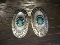 reizvolle seltene Jugendstil Ohrringe Clips 925er Silber Mabeperle Türkis