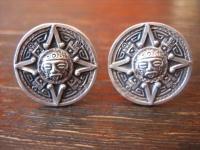 vintage Manschettenknöpfe Maya Azteken Gott 925er Silber Mayakalender rund