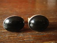 elegante antike Manschettenknöpfe 925er Silber schwarzer Opal oder Onyx