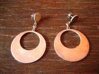 traumhafte große 970er Silber Designer Ohrringe Hänger Scheiben Creolen