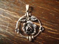 prächtiger Jugendstil Rosen Anhänger Rose beweglich 800er Silber Tracht Dirndl