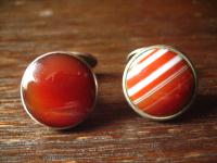 prächtige Jugendstil Manschettenknöpfe roter Carneol Lagenachat 835er Silber