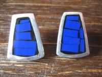 elegante Statement Ohrringe Stecker Ohrstecker 925er Silber lapislazuli blau NEU