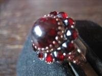 prächtiger Biedermeier Granat Ring Granatring 585er Gold Rotgold restauriert