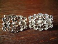 herrliche vintage Manschettenknöpfe 925er Silber floral Trachten signiert BAS