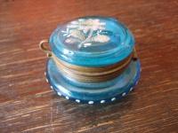 Rarität Jugendstil Tintenfass Glas blau Handmalerei Souvenir (Bad) Herrenalb