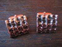 ausgefallene 50er Jahre dänische Designer Manschettenknöpfe Kupfer Rotbronze