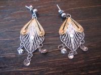 traumhaft schöne Ohrringe Hänger Chandeliers 925er Silber gold Filigranarbeit