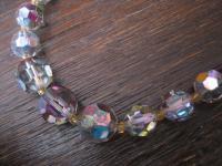 funkelndes 50er Jahre vintage Collier Kette mit Aurora Borealis Perlen Verlauf