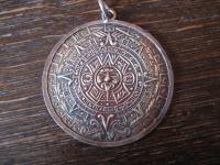 großer vintage Anhänger Mayakalender Maya Azteken Kalender 925er Silber 3, 5 cm