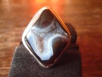prächtiger Designer Statement Ring Onyx Druse 925er Silber schwarz Raute Unikat