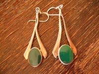 lange elegante Statement Ohrringe Hänger 925er Silber grüner Achat grün 6, 5 cm