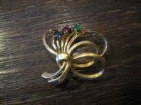 kleine hübsche antike Schleifen Brosche gold Rubin Smaragd Saphir Schleife
