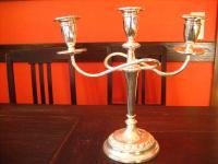 hoher Kerzenständer Kerzenhalter Leuchter Kandelaber silber pl 3-arm 3armig