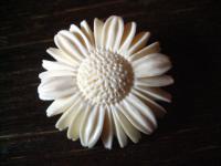 dekorative Trachtenschmuck Brosche Bein geschnitzt Blume Margarite fürs Dirndl