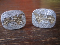 große elegante vintage Manschettenknöpfe Oldtimer 835er Silber teils vergoldet