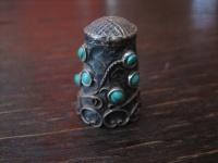 super schöner Fingerhut 925er Silber Türkis Besatz aufwändige Handarbeit Mexiko