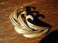 traumhafte große Vintage Designer Brosche Henkel & Grosse gold Federn 50er Jahre