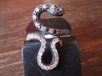 Kronjuwelen gesucht ? starker Schlangen Ring 925er Silber gold Zirkonia RG 55-60