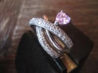 moderner vintage Designer Ring Cocktailring 925er Silber Zirkonia Herz pink