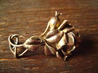 aufwändige antike Rosen Brosche Rose vollplastisch 800er Silber vergoldet gold