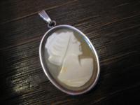 echte Muschelgemme Kamee Cameo Anhänger in Art Deco 835er Silber Fassung